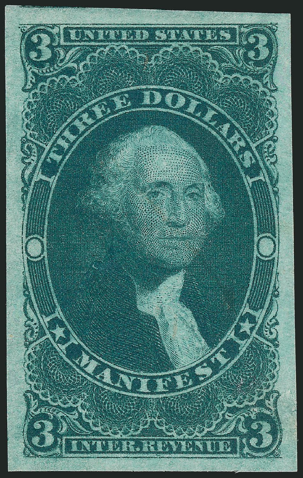 US Stamps Value Scott Catalog #R86 - US$3.00 1862 Revenue Manifest. Robert Siegel Auction Galleries, Dec 2009, Sale 978, Lot 1166