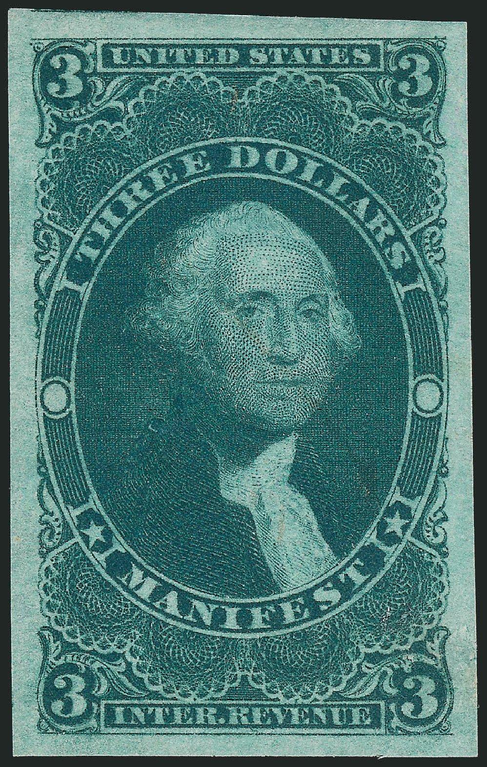 US Stamps Value Scott Catalog #R86 - US$3.00 1862 Revenue Manifest. Robert Siegel Auction Galleries, Dec 2009, Sale 978, Lot 1166