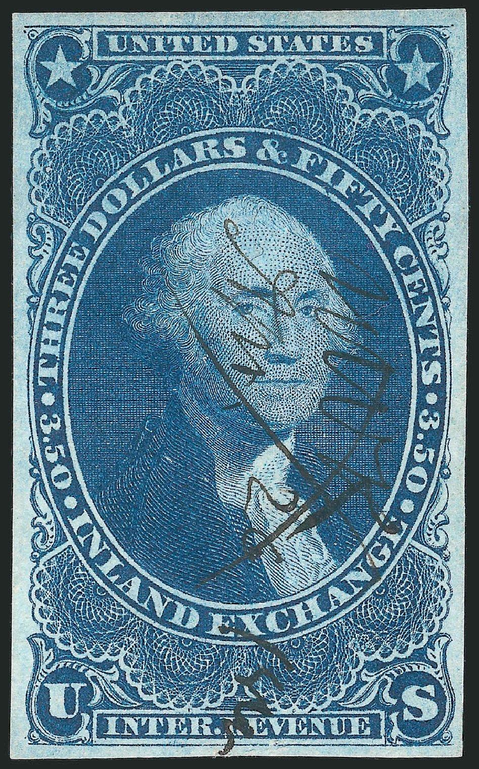 US Stamp Value Scott #R87: US$3.50 1863 Revenue Inland Exchange. Robert Siegel Auction Galleries, Mar 2014, Sale 1066, Lot 27
