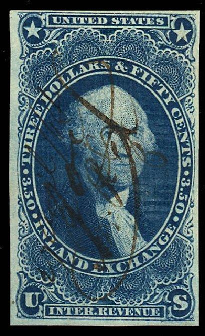 US Stamps Value Scott Catalogue # R87: US$3.50 1863 Revenue Inland Exchange. Daniel Kelleher Auctions, Dec 2012, Sale 633, Lot 1128