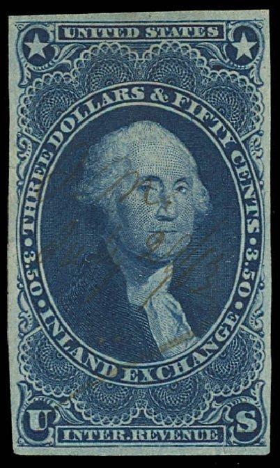 Value of US Stamps Scott Catalog R87: US$3.50 1863 Revenue Inland Exchange. Daniel Kelleher Auctions, Apr 2013, Sale 636, Lot 641