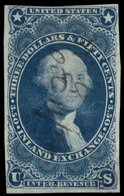 Values of US Stamp Scott Cat. #R87 - US$3.50 1863 Revenue Inland Exchange. Daniel Kelleher Auctions, May 2015, Sale 665, Lot 131