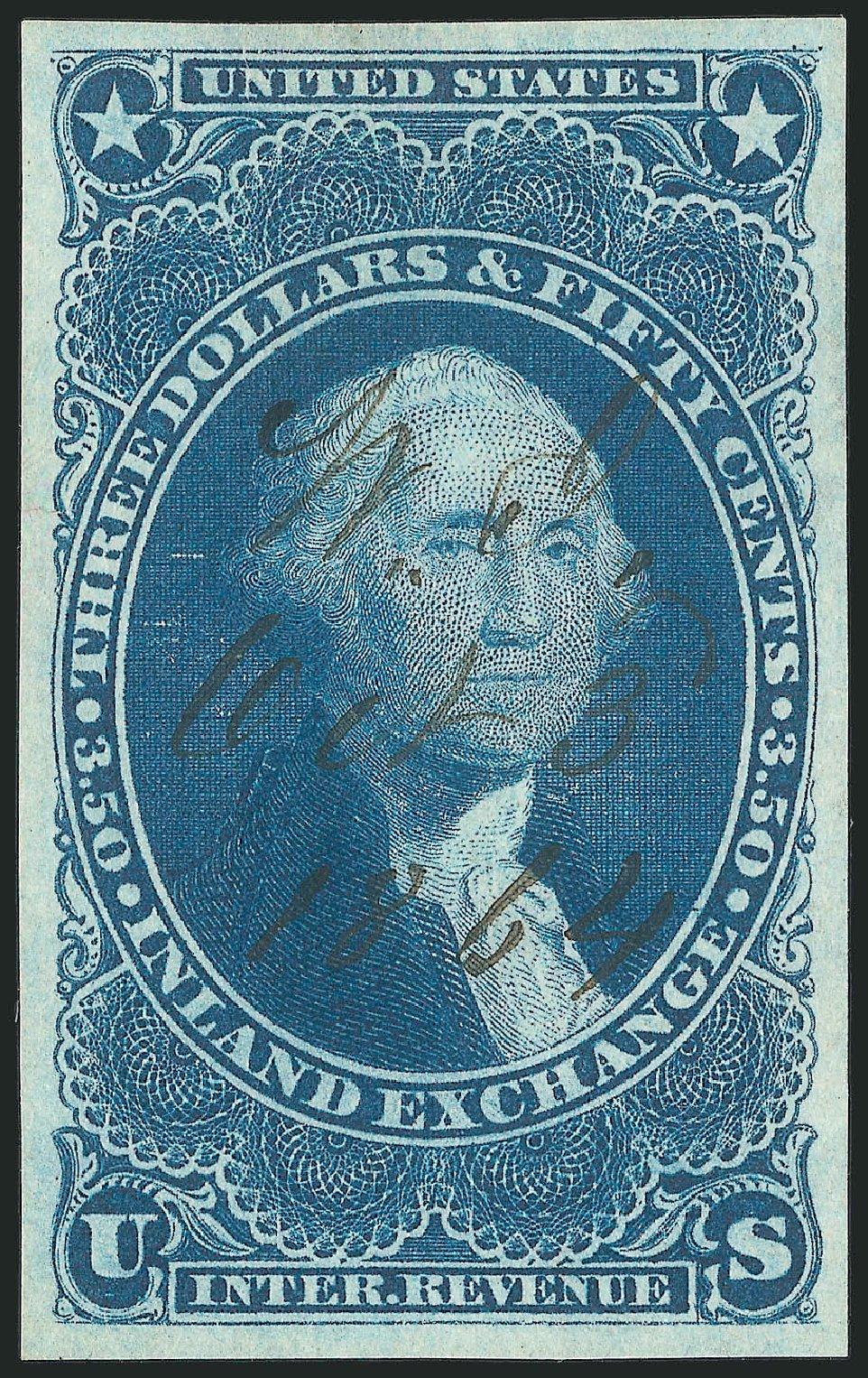 Values of US Stamp Scott Cat. R87 - US$3.50 1863 Revenue Inland Exchange. Robert Siegel Auction Galleries, Mar 2014, Sale 1067, Lot 535