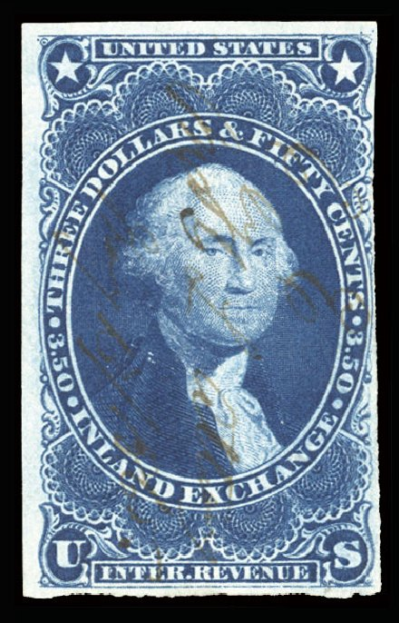 Prices of US Stamps Scott # R87 - 1863 US$3.50 Revenue Inland Exchange. Cherrystone Auctions, Jun 2014, Sale 201406, Lot 136