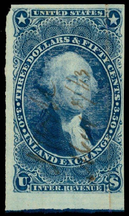 US Stamp Values Scott Cat. R87 - 1863 US$3.50 Revenue Inland Exchange. Daniel Kelleher Auctions, Sep 2013, Sale 639, Lot 3836