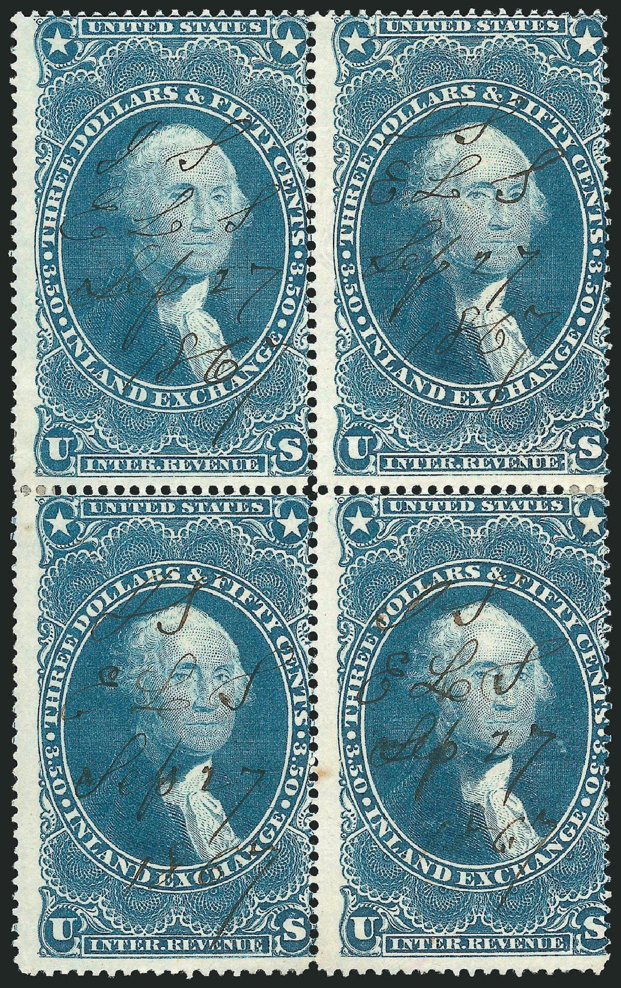 US Stamp Values Scott #R87: 1863 US$3.50 Revenue Inland Exchange. Robert Siegel Auction Galleries, Dec 2014, Sale 1089, Lot 436
