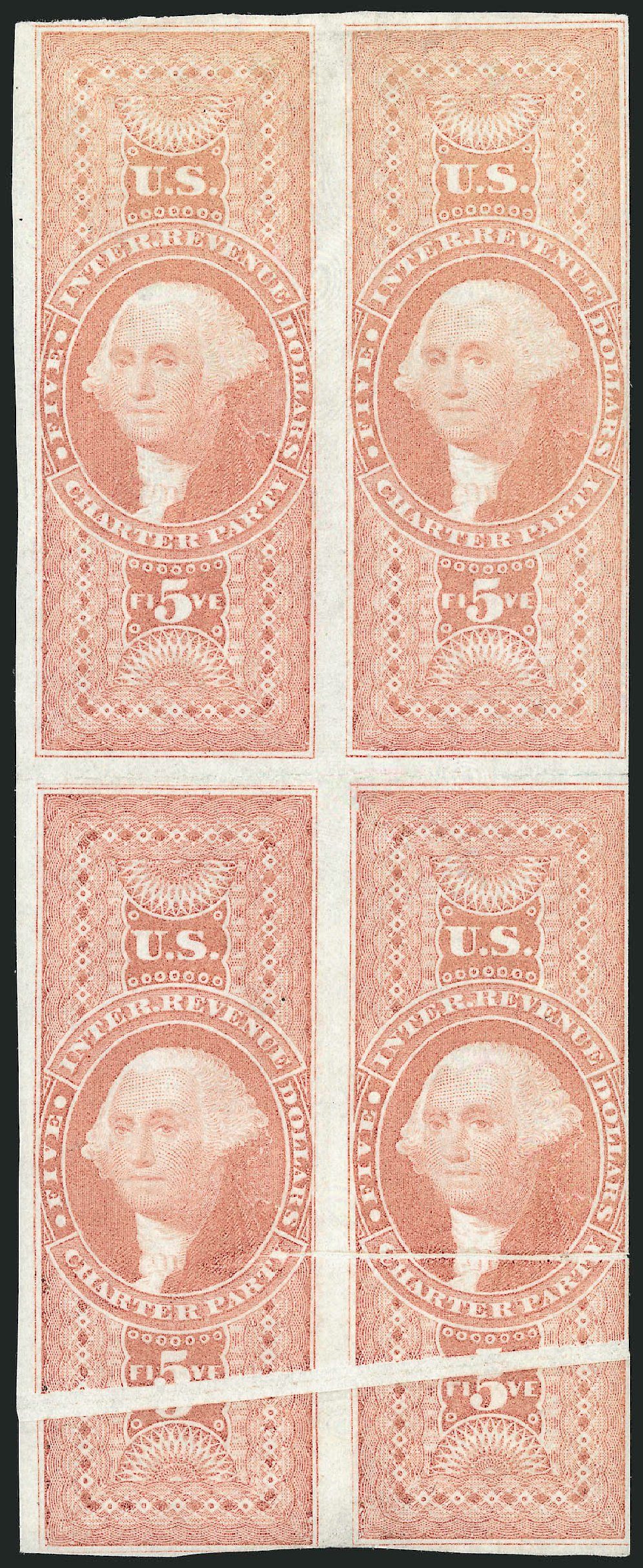US Stamps Price Scott Cat. R88 - 1862 US$5.00 Revenue Charter Party. Robert Siegel Auction Galleries, Dec 2014, Sale 1089, Lot 368