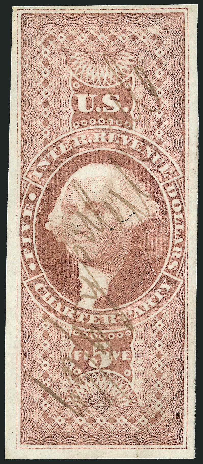US Stamps Values Scott # R88 - 1862 US$5.00 Revenue Charter Party. Robert Siegel Auction Galleries, Mar 2014, Sale 1066, Lot 29