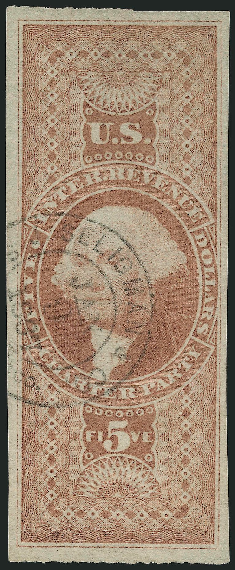 US Stamp Price Scott Cat. # R88 - 1862 US$5.00 Revenue Charter Party. Robert Siegel Auction Galleries, Jul 2013, Sale 1050, Lot 821