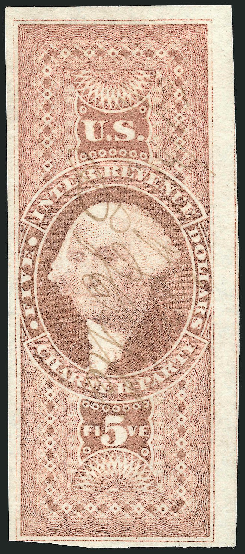US Stamps Value Scott Catalog # R88: 1862 US$5.00 Revenue Charter Party. Robert Siegel Auction Galleries, Oct 2012, Sale 1031, Lot 1014