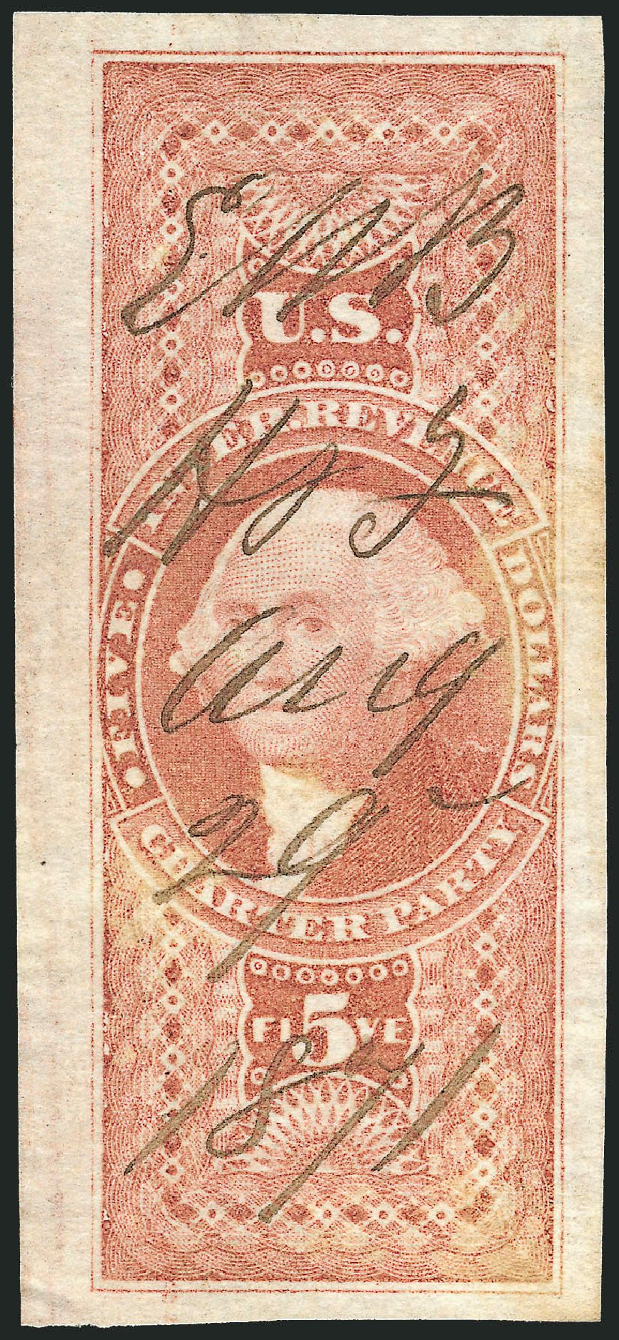 US Stamps Prices Scott Catalog #R88 - 1862 US$5.00 Revenue Charter Party. Robert Siegel Auction Galleries, Dec 2014, Sale 1089, Lot 254