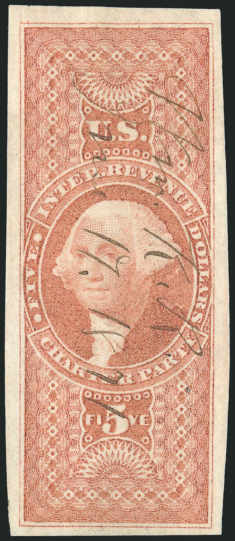 US Stamp Values Scott Catalog #R88 - 1862 US$5.00 Revenue Charter Party. Robert Siegel Auction Galleries, Dec 2014, Sale 1089, Lot 253