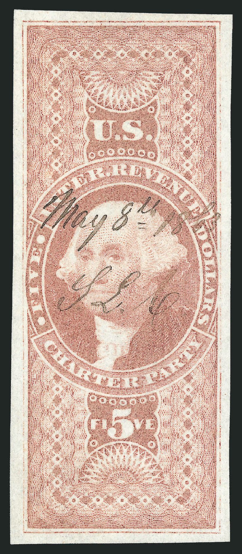 Prices of US Stamp Scott R88: US$5.00 1862 Revenue Charter Party. Robert Siegel Auction Galleries, Nov 2011, Sale 1015, Lot 26