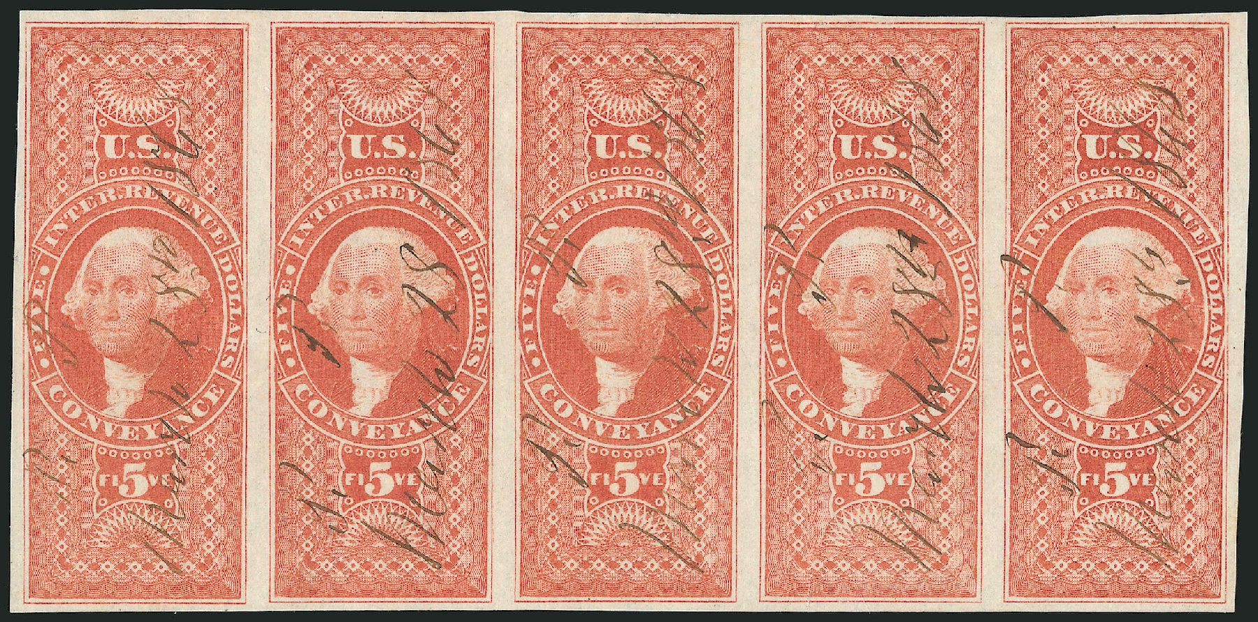 Value of US Stamp Scott Catalog R89: 1862 US$5.00 Revenue Conveyance. Robert Siegel Auction Galleries, Dec 2014, Sale 1089, Lot 369