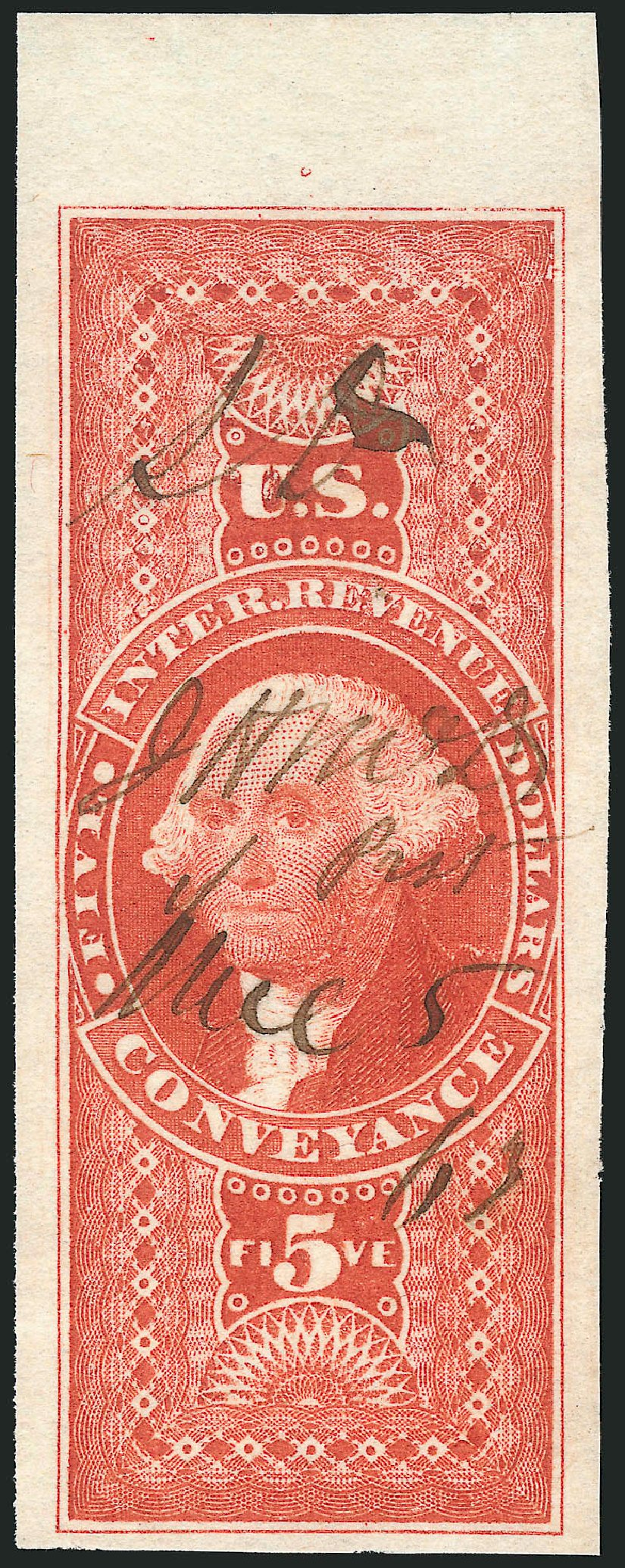 Value of US Stamps Scott #R89 - 1862 US$5.00 Revenue Conveyance. Robert Siegel Auction Galleries, Mar 2014, Sale 1066, Lot 30
