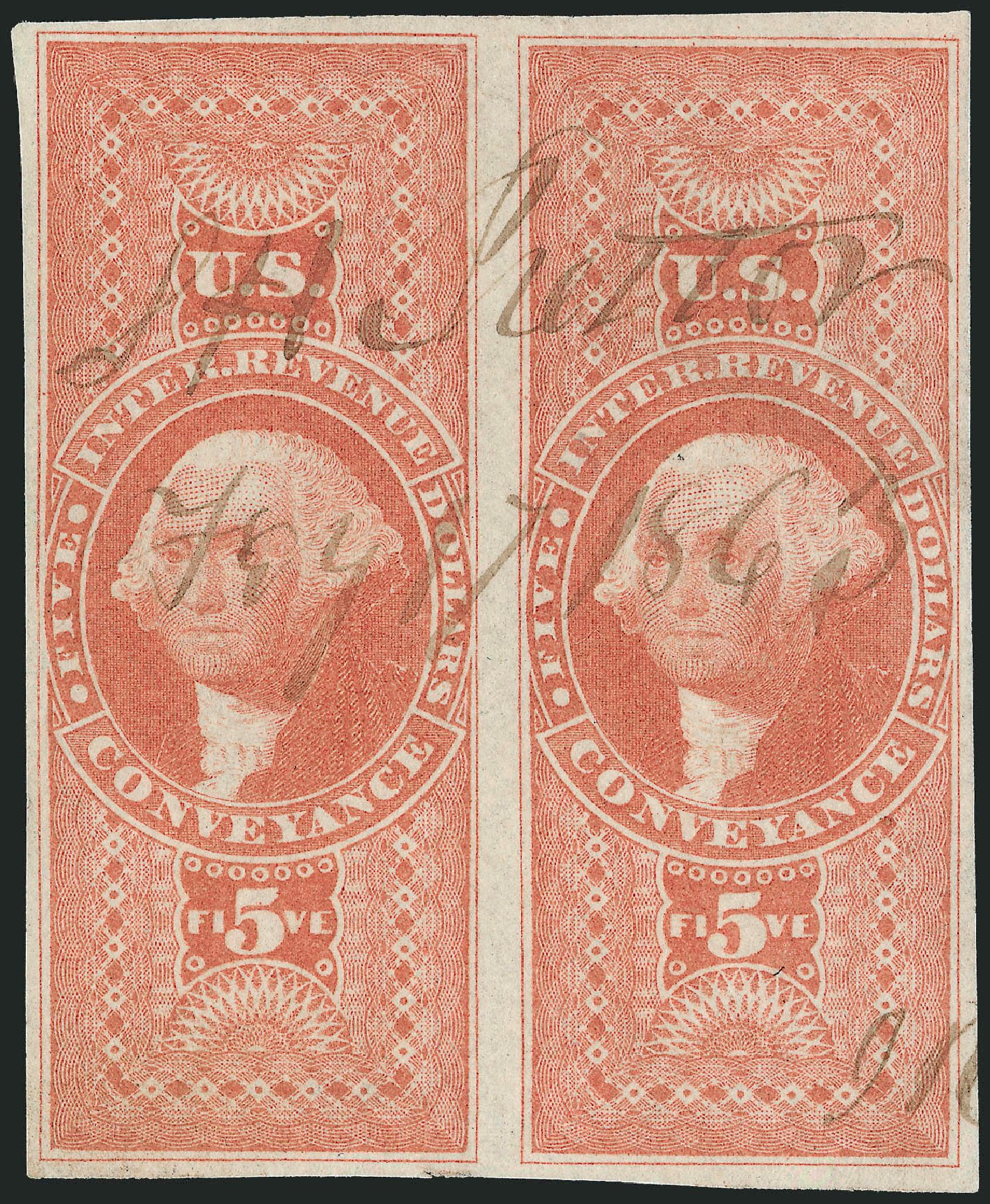 US Stamps Prices Scott Catalog #R89 - US$5.00 1862 Revenue Conveyance. Robert Siegel Auction Galleries, Dec 2008, Sale 967, Lot 5240