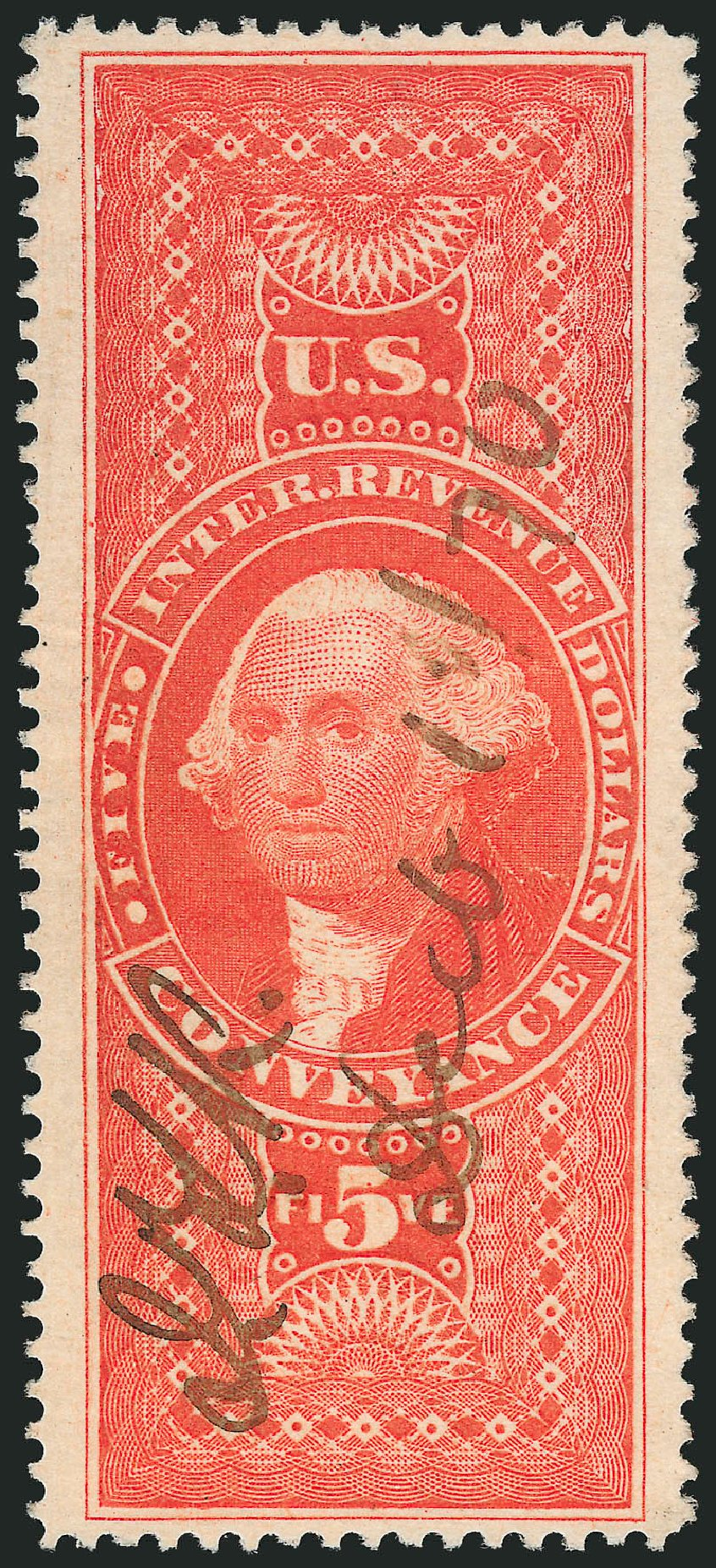 Costs of US Stamps Scott R89: 1862 US$5.00 Revenue Conveyance. Robert Siegel Auction Galleries, Mar 2014, Sale 1066, Lot 71