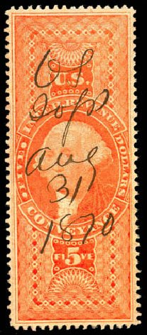 US Stamps Value Scott Catalogue R89: US$5.00 1862 Revenue Conveyance. Matthew Bennett International, Jun 2008, Sale 328, Lot 1382