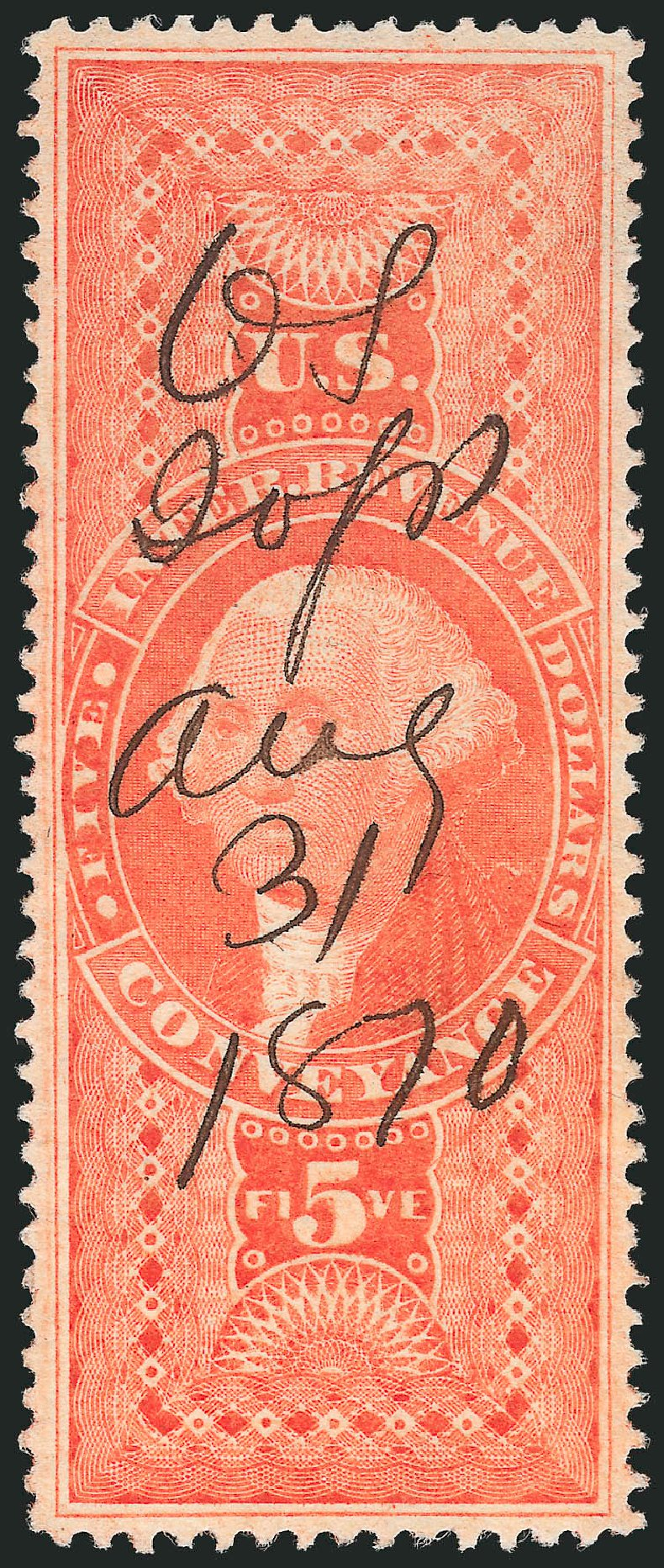 US Stamp Value Scott #R89 - US$5.00 1862 Revenue Conveyance. Robert Siegel Auction Galleries, Mar 2014, Sale 1066, Lot 72