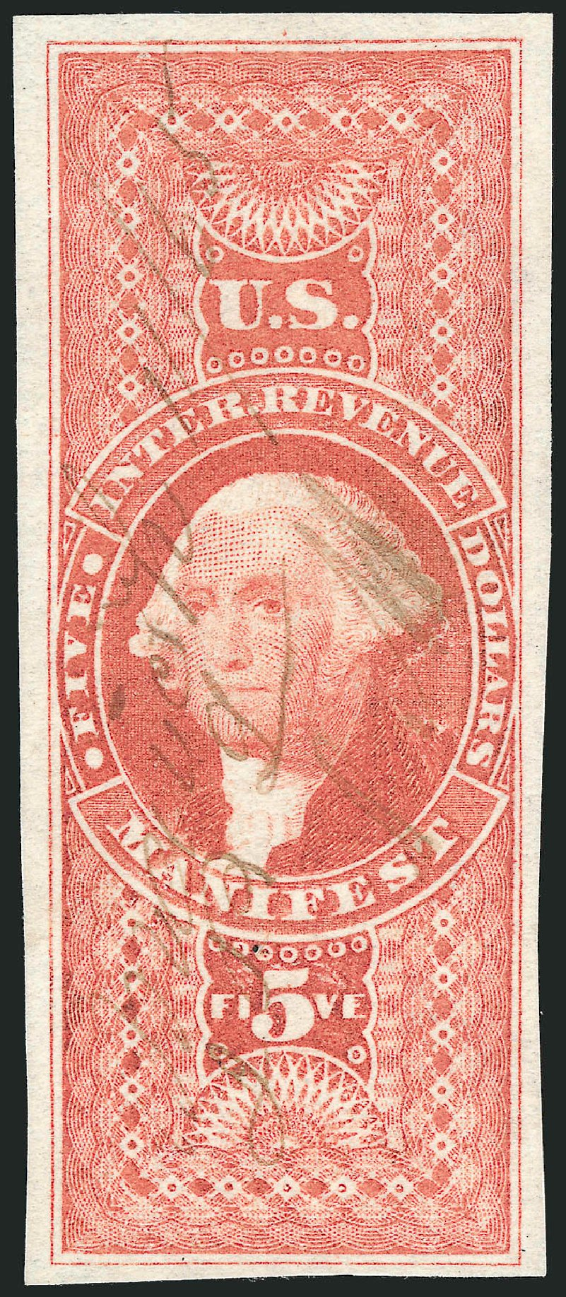 Values of US Stamp Scott Catalogue #R90 - 1862 US$5.00 Revenue Manifest. Robert Siegel Auction Galleries, Nov 2011, Sale 1015, Lot 27