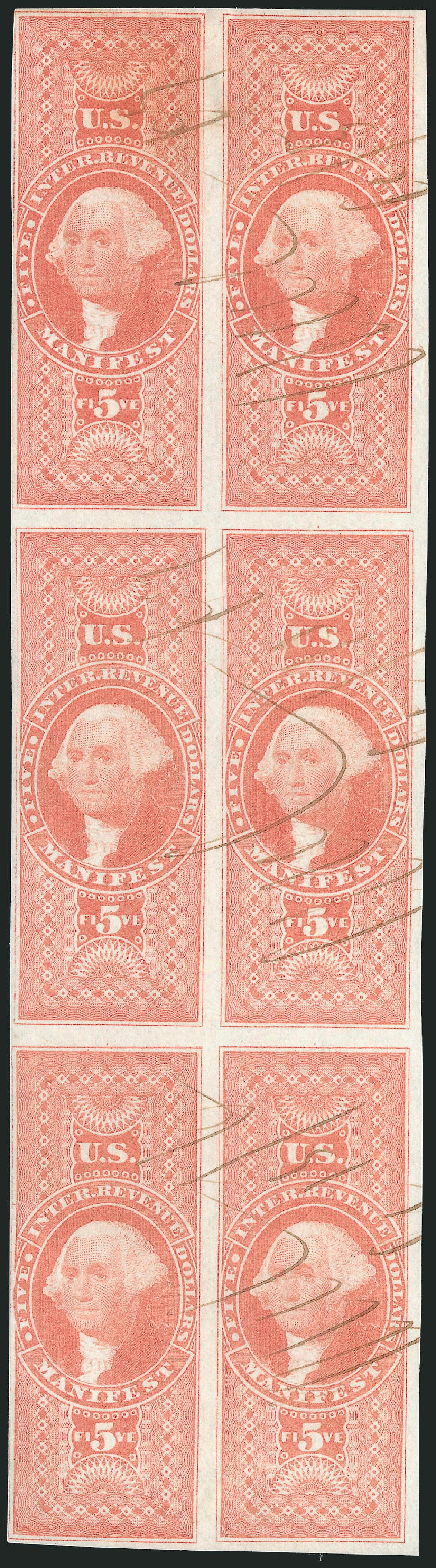 Values of US Stamps Scott Cat. R90: 1862 US$5.00 Revenue Manifest. Robert Siegel Auction Galleries, Dec 2014, Sale 1089, Lot 370