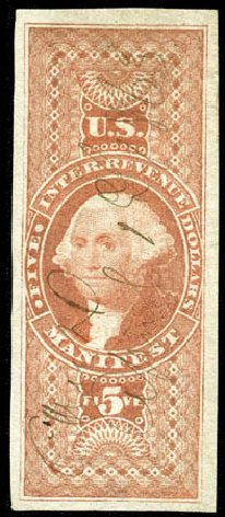 US Stamp Values Scott Catalogue # R90 - US$5.00 1862 Revenue Manifest. Matthew Bennett International, Feb 2012, Sale 340, Lot 622