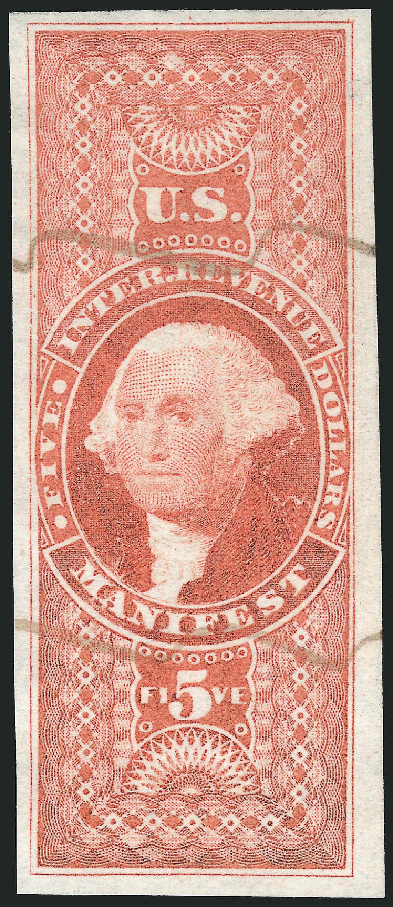Price of US Stamp Scott Catalog # R90 - 1862 US$5.00 Revenue Manifest. Robert Siegel Auction Galleries, Mar 2014, Sale 1066, Lot 32