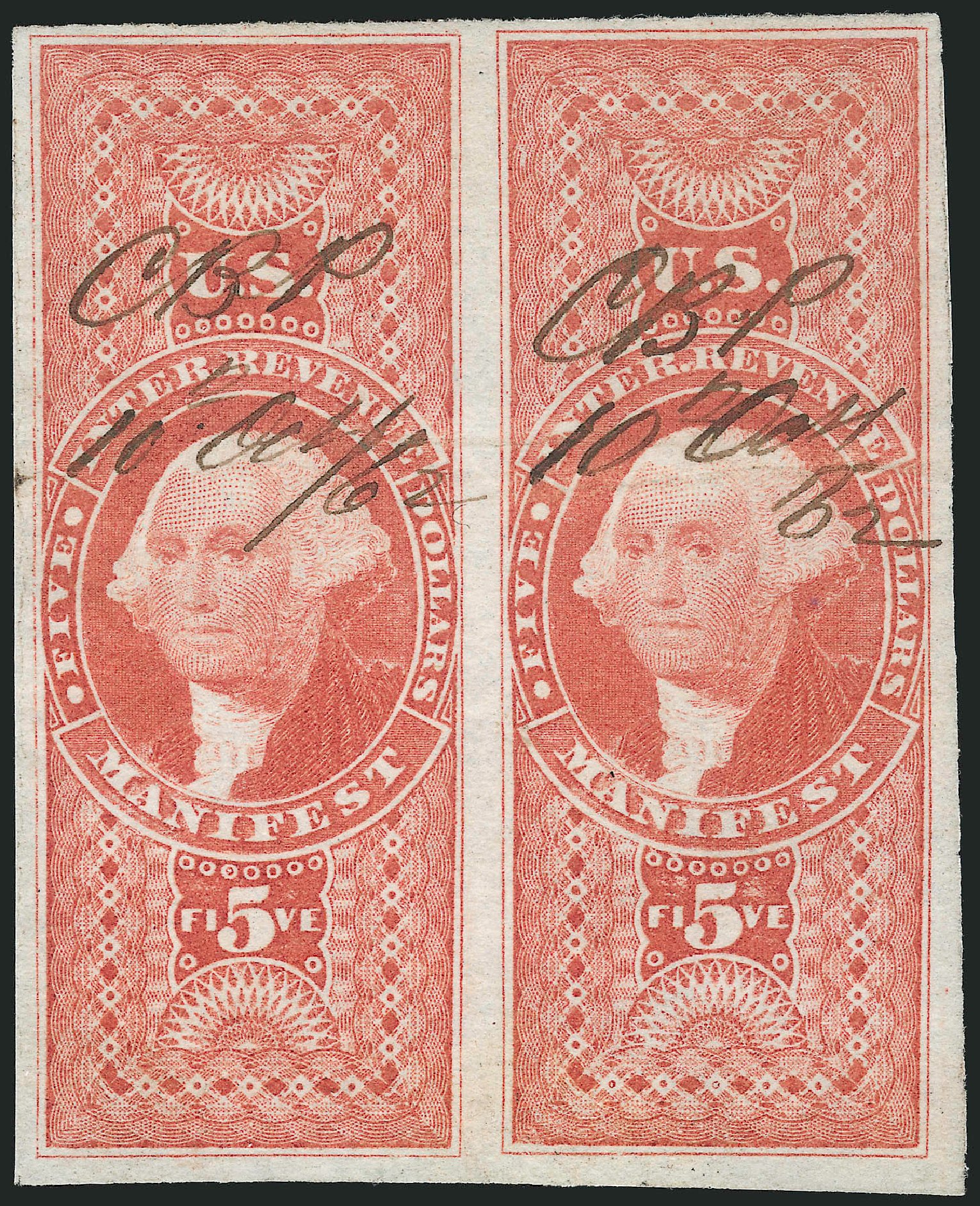 US Stamps Values Scott R90 - 1862 US$5.00 Revenue Manifest. Robert Siegel Auction Galleries, Dec 2014, Sale 1089, Lot 256