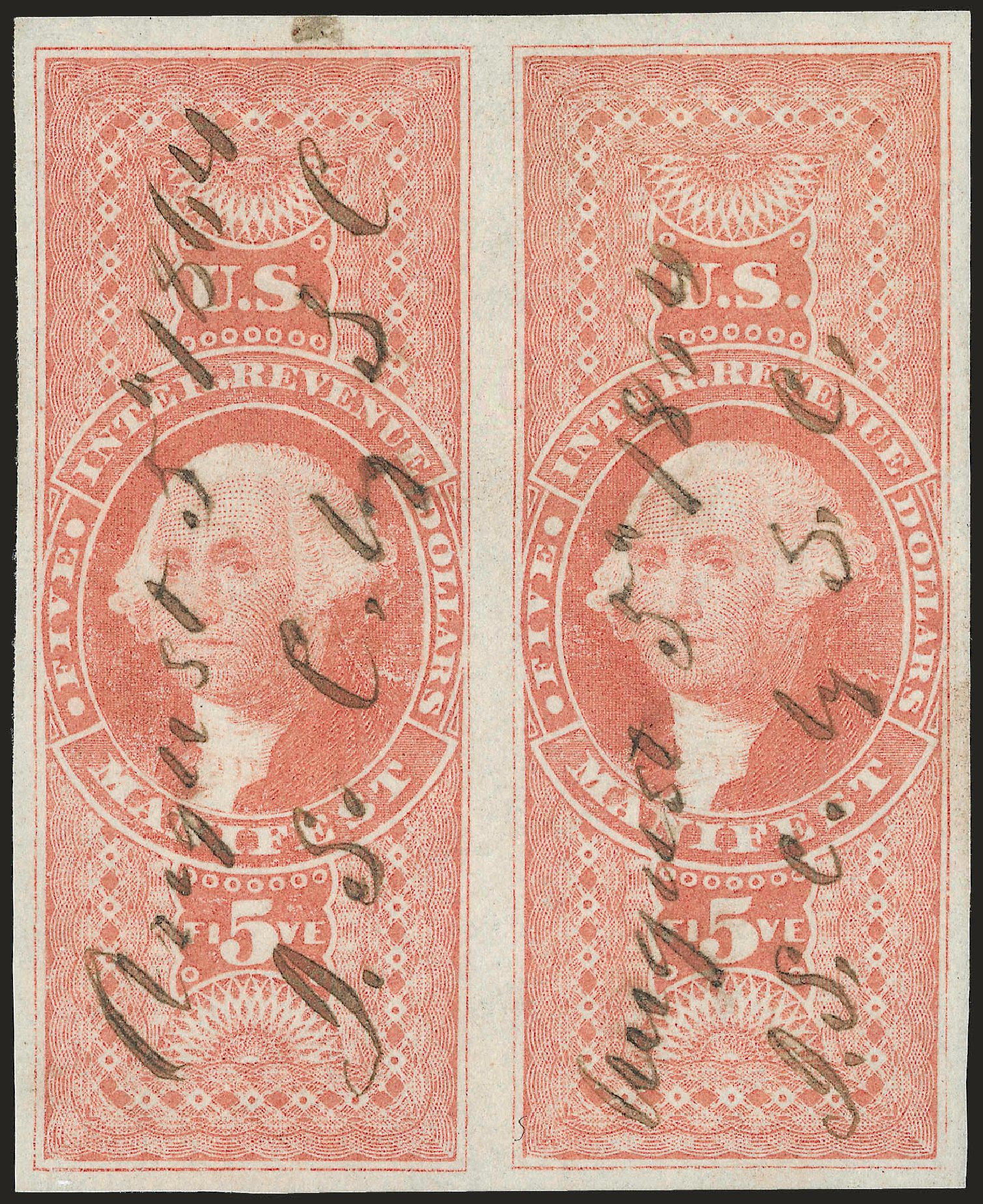 US Stamps Prices Scott Catalogue #R90 - US$5.00 1862 Revenue Manifest. Robert Siegel Auction Galleries, Jun 2009, Sale 975, Lot 2296