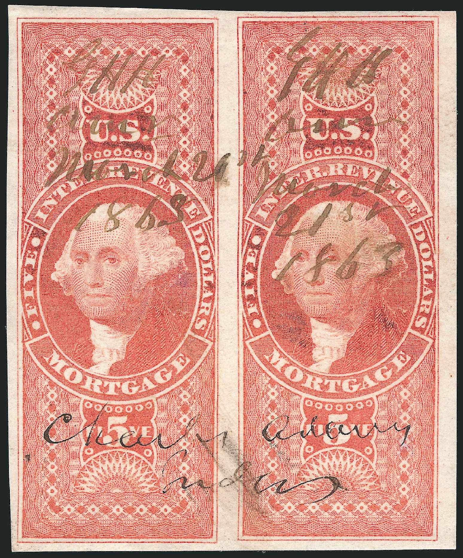Costs of US Stamp Scott Catalog #R91 - 1862 US$5.00 Revenue Mortgage. Robert Siegel Auction Galleries, Nov 2013, Sale 1061, Lot 4287