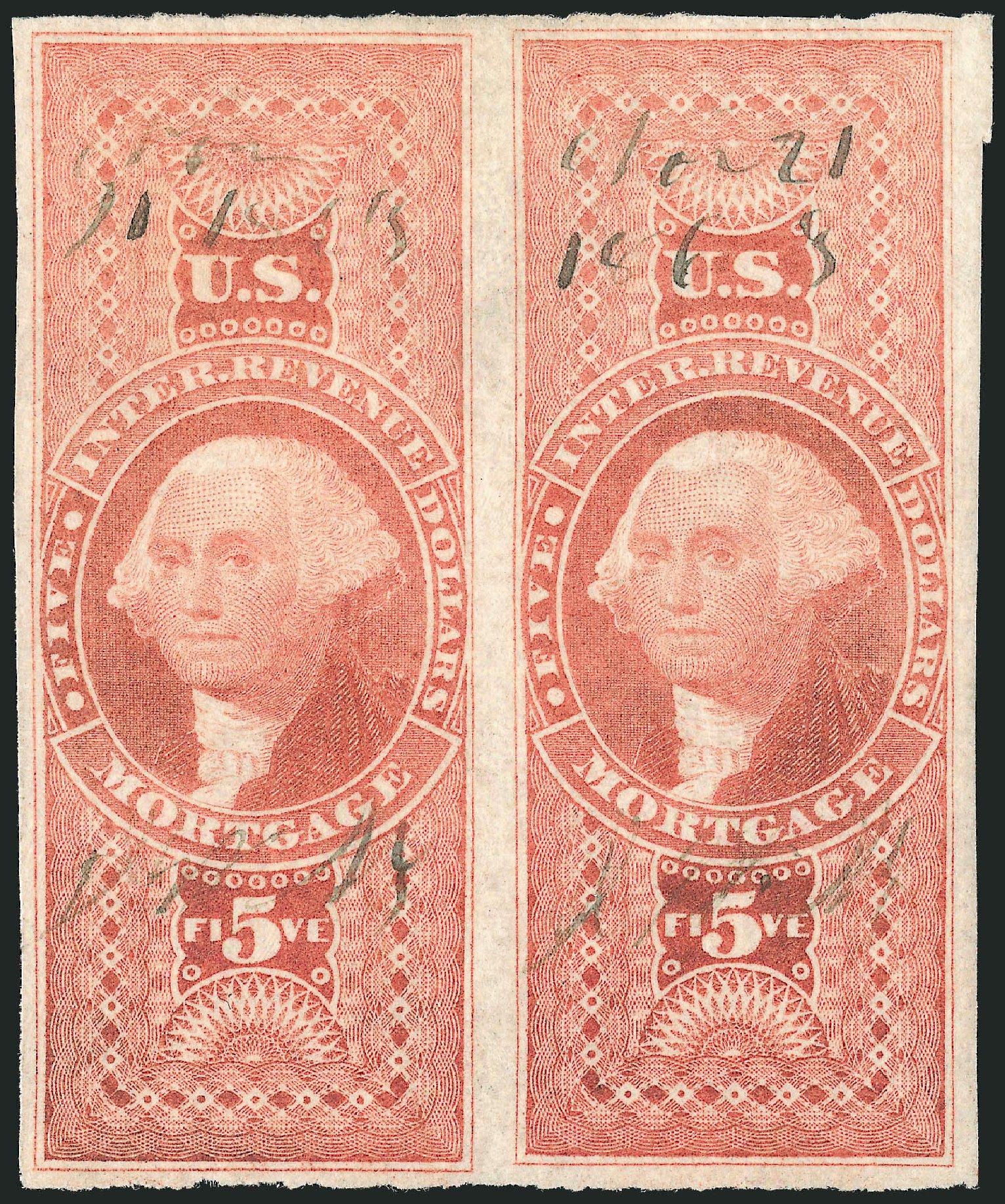 US Stamp Prices Scott Catalogue # R91 - US$5.00 1862 Revenue Mortgage. Robert Siegel Auction Galleries, Dec 2014, Sale 1089, Lot 257