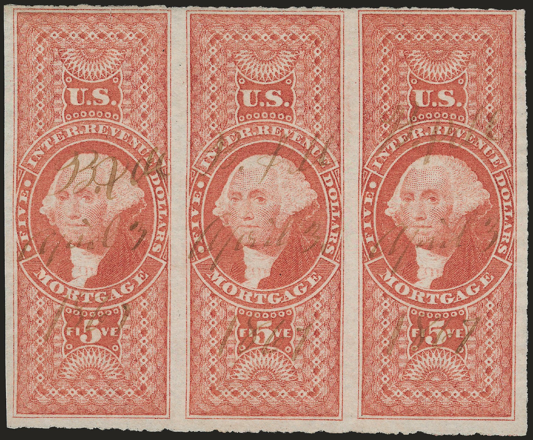 US Stamp Values Scott Catalogue # R91: US$5.00 1862 Revenue Mortgage. Robert Siegel Auction Galleries, Jun 2009, Sale 975, Lot 2297