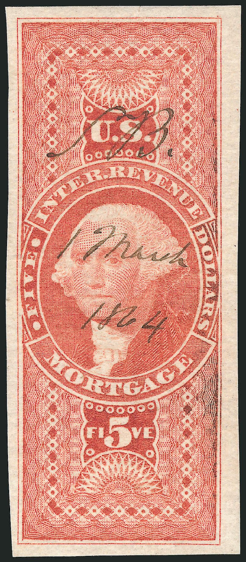 US Stamps Prices Scott Catalog #R91 - 1862 US$5.00 Revenue Mortgage. Robert Siegel Auction Galleries, Nov 2011, Sale 1015, Lot 28