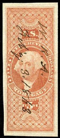 Values of US Stamps Scott #R91 - US$5.00 1862 Revenue Mortgage. Matthew Bennett International, Feb 2012, Sale 340, Lot 623