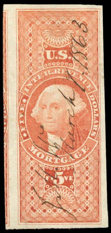 Values of US Stamp Scott Catalogue #R91 - US$5.00 1862 Revenue Mortgage. Daniel Kelleher Auctions, Aug 2015, Sale 672, Lot 3073