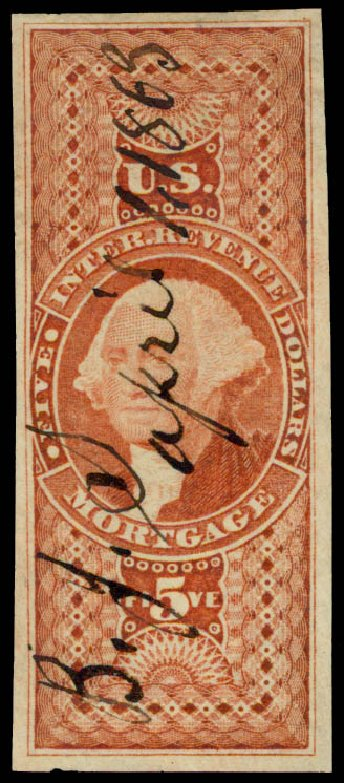 Values of US Stamp Scott # R91: 1862 US$5.00 Revenue Mortgage. Daniel Kelleher Auctions, May 2015, Sale 665, Lot 136