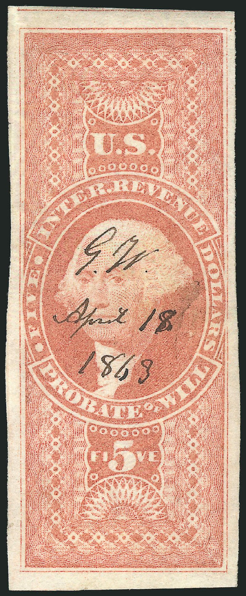 Values of US Stamps Scott R92 - 1862 US$5.00 Revenue Probate of Will. Robert Siegel Auction Galleries, Mar 2014, Sale 1067, Lot 537