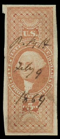 Value of US Stamp Scott Catalog # R92: 1862 US$5.00 Revenue Probate of Will. Daniel Kelleher Auctions, Oct 2011, Sale 626, Lot 659
