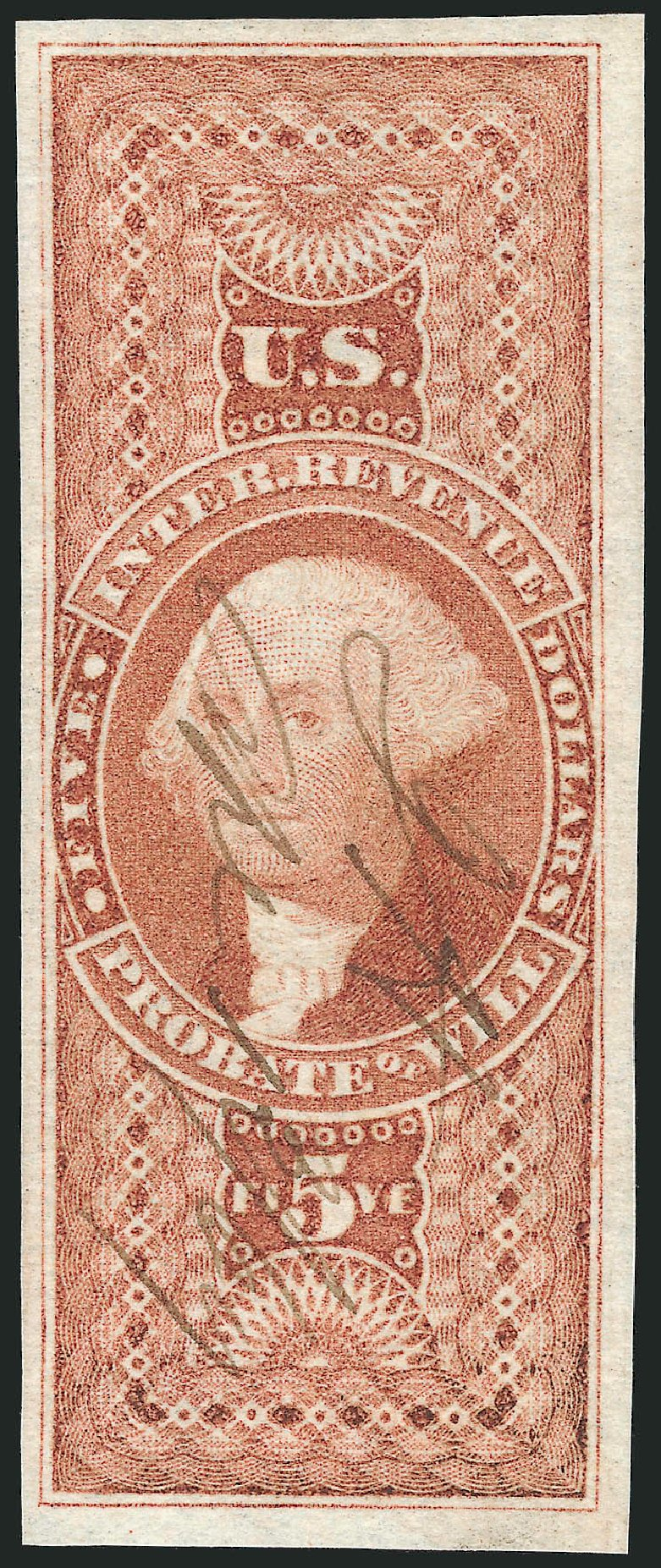 Price of US Stamps Scott R92 - US$5.00 1862 Revenue Probate of Will. Robert Siegel Auction Galleries, Nov 2011, Sale 1015, Lot 29