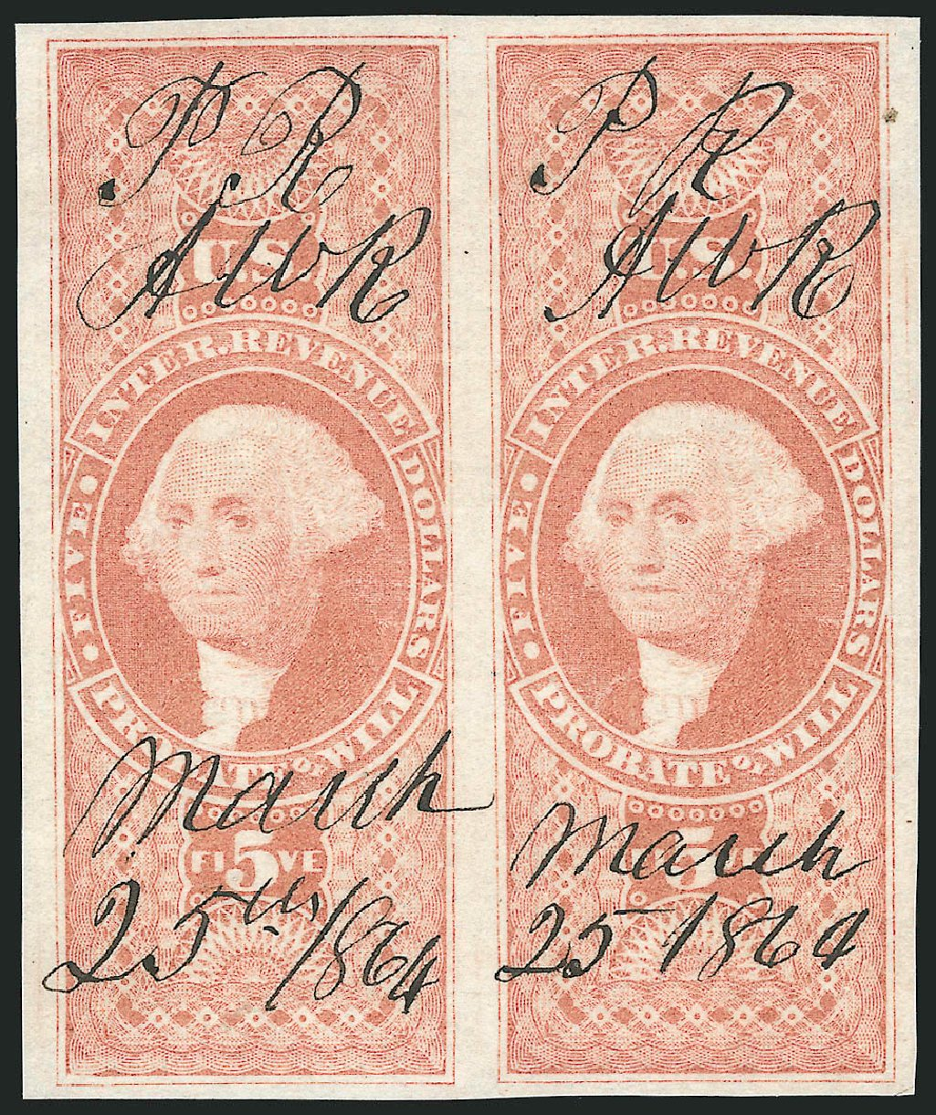 Price of US Stamps Scott Catalogue # R92 - US$5.00 1862 Revenue Probate of Will. Robert Siegel Auction Galleries, Dec 2014, Sale 1089, Lot 259
