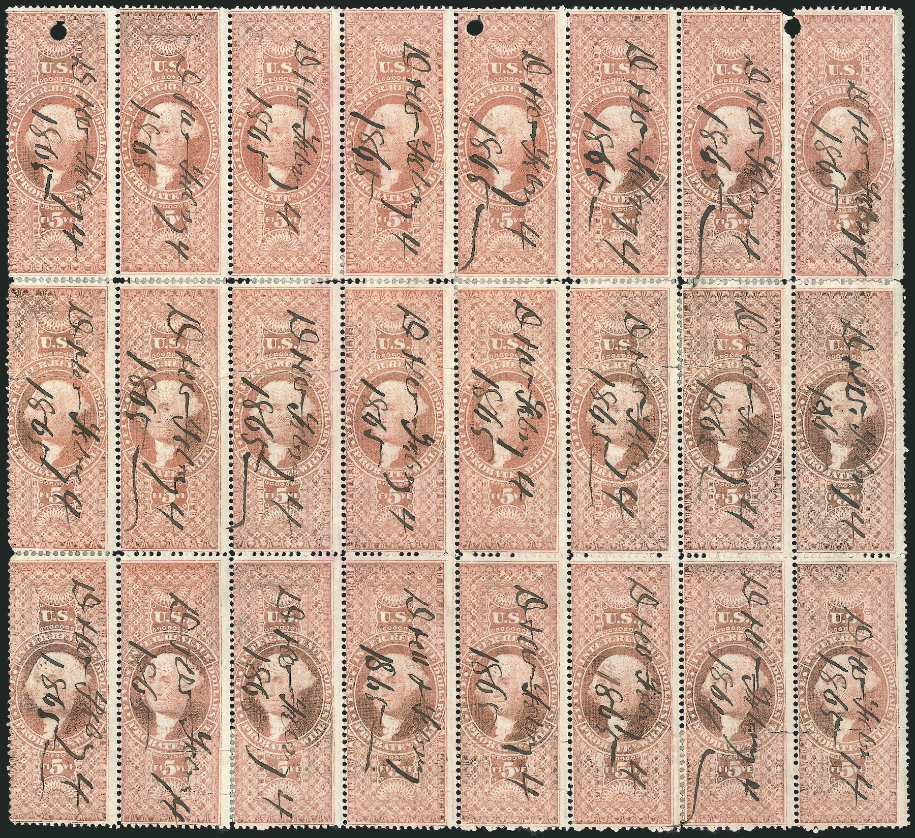 US Stamp Price Scott Catalogue R92 - 1862 US$5.00 Revenue Probate of Will. Robert Siegel Auction Galleries, Dec 2014, Sale 1089, Lot 439