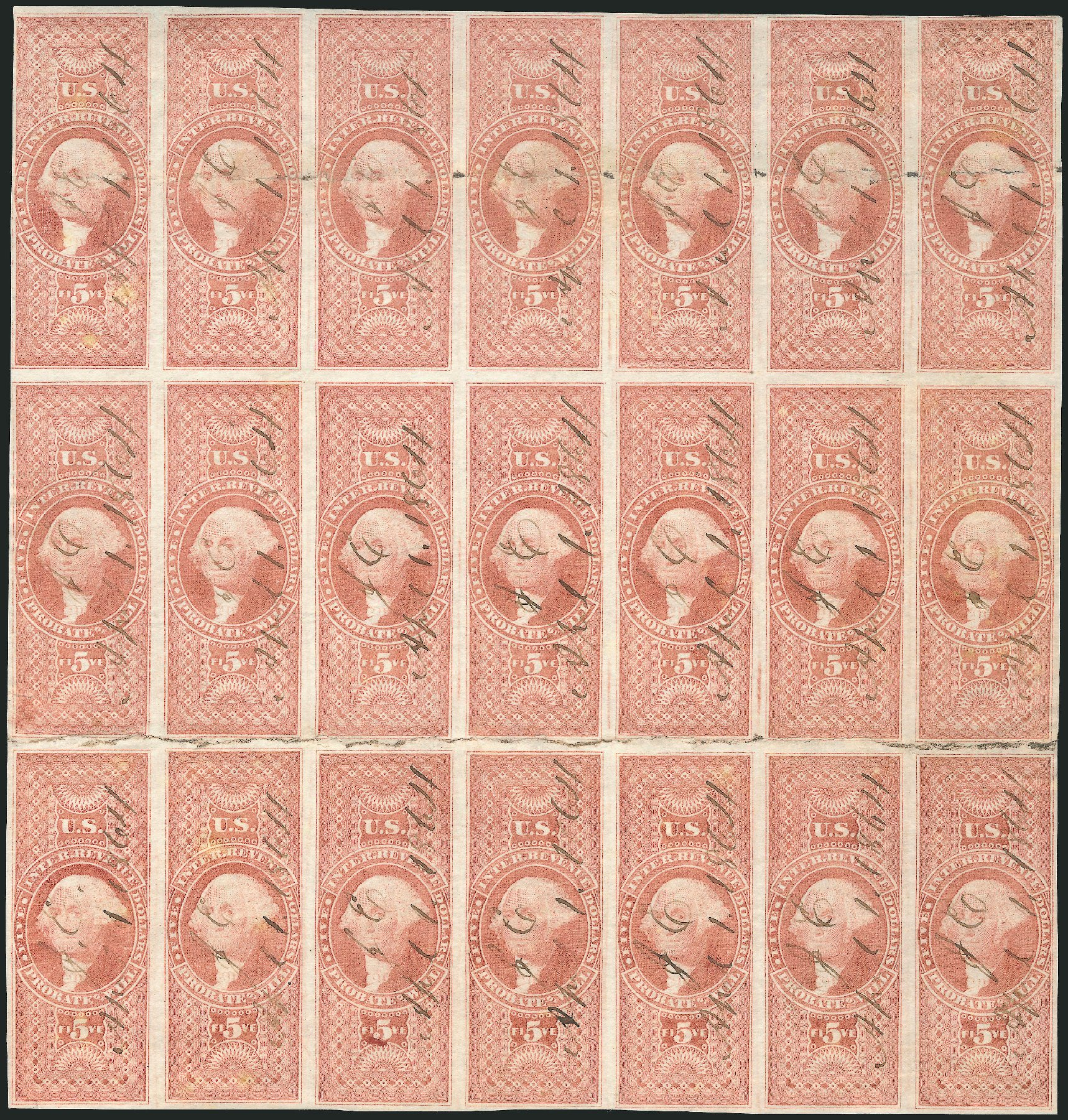 US Stamps Price Scott # R92 - 1862 US$5.00 Revenue Probate of Will. Robert Siegel Auction Galleries, Jun 2015, Sale 1100, Lot 160