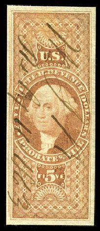 Cost of US Stamps Scott Cat. # R92: 1862 US$5.00 Revenue Probate of Will. Matthew Bennett International, Feb 2012, Sale 340, Lot 624