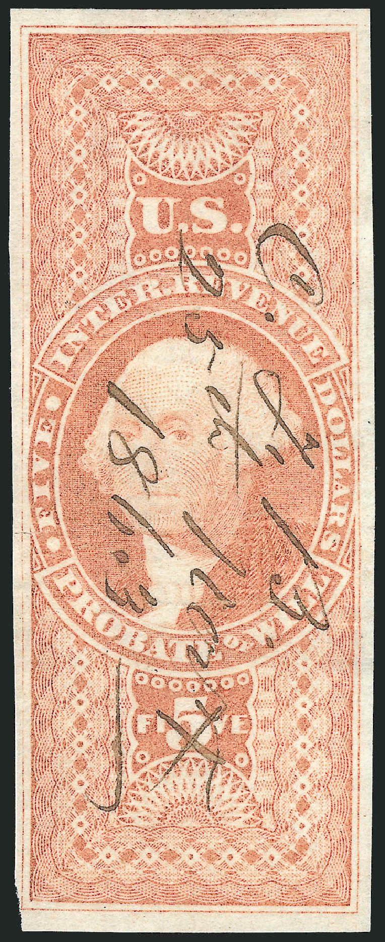 Values of US Stamps Scott Cat. R92 - US$5.00 1862 Revenue Probate of Will. Robert Siegel Auction Galleries, Oct 2012, Sale 1031, Lot 1015