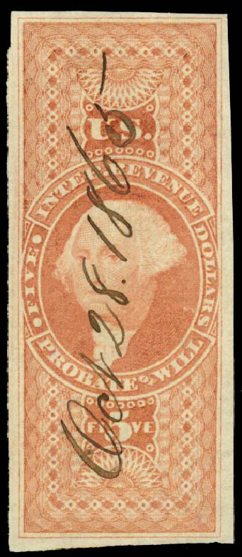Value of US Stamp Scott Catalog R92: 1862 US$5.00 Revenue Probate of Will. Daniel Kelleher Auctions, Jun 2015, Sale 670, Lot 23
