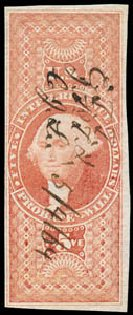 US Stamps Prices Scott Cat. # R92 - US$5.00 1862 Revenue Probate of Will. Schuyler J. Rumsey Philatelic Auctions, Apr 2015, Sale 60, Lot 2693
