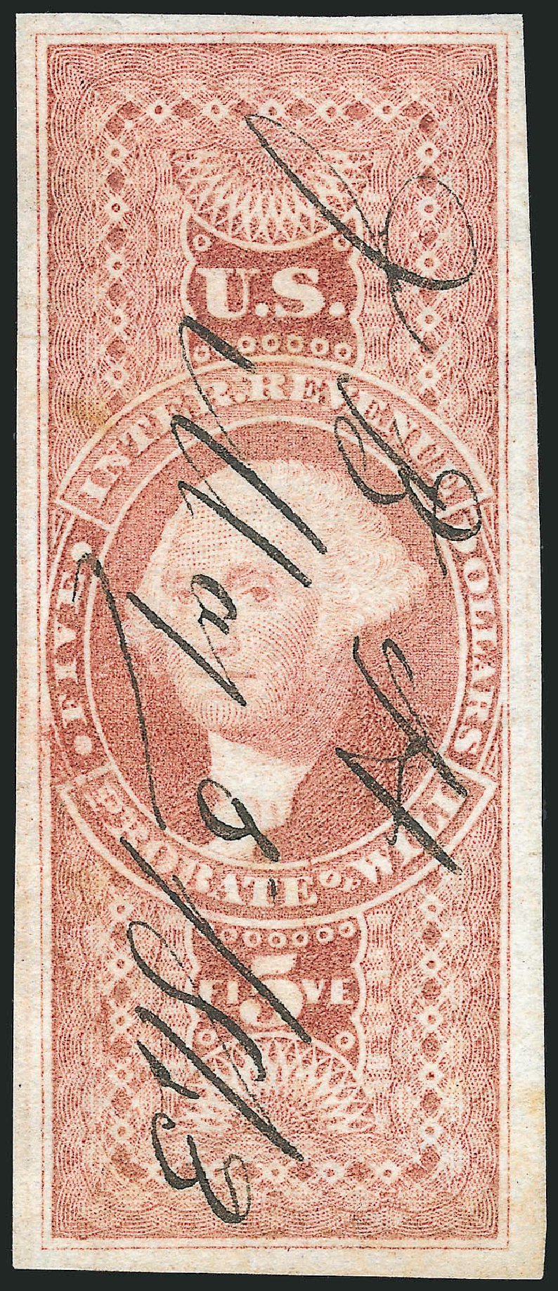 Prices of US Stamps Scott Catalog # R92 - 1862 US$5.00 Revenue Probate of Will. Robert Siegel Auction Galleries, Mar 2014, Sale 1066, Lot 33