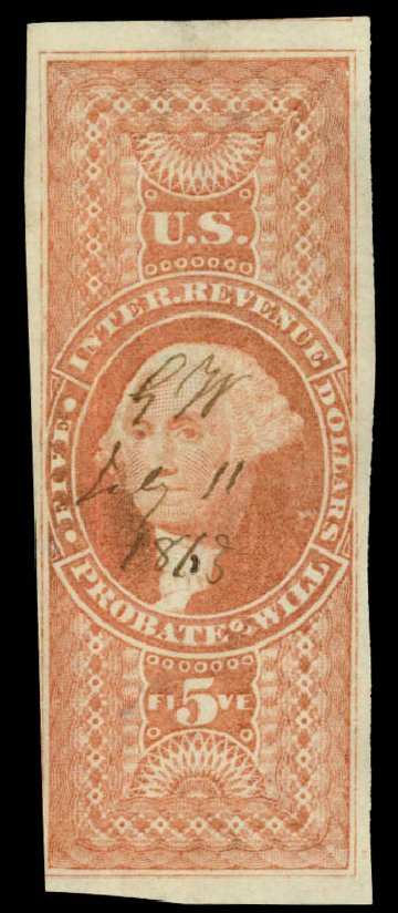 US Stamps Price Scott #R92 - US$5.00 1862 Revenue Probate of Will. Daniel Kelleher Auctions, Oct 2014, Sale 660, Lot 2576