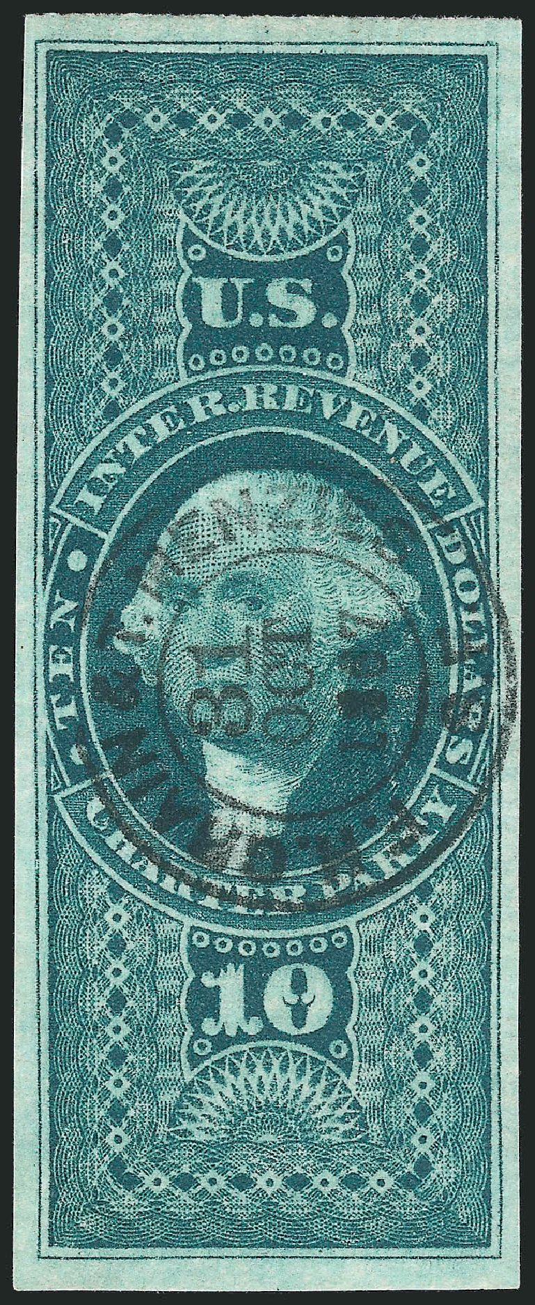 Price of US Stamps Scott R93: 1862 US$10.00 Revenue Charter Party. Robert Siegel Auction Galleries, Nov 2013, Sale 1061, Lot 4288