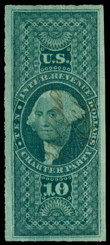 Prices of US Stamps Scott #R93 - 1862 US$10.00 Revenue Charter Party. Daniel Kelleher Auctions, May 2015, Sale 665, Lot 139